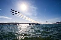 Six ship Blue Angel Delta Formation in flight over San Francisco Bay