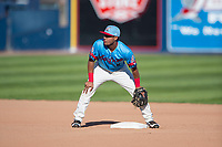 Spokane Indians second baseman Cristian Inoa (4) during a Northwest League game against the Vancouver Canadians at Avista Stadium on September 2, 2018 in Spokane, Washington. The Spokane Indians defeated the Vancouver Canadians by a score of 3-1. (Zachary Lucy/Four Seam Images)