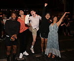 "Broadway debuts: Olutayo Bosede, Caleb Marshall, Evan Kinnane, Jeigh Madjus and Karli Dinardo during the Broadway Opening Night Legacy Robe Ceremony honoring Bahiyah Hibah for  ""Moulin Rouge! The Musical"" at the Al Hirschfeld Theatre on July 25,2019 in New York City."