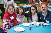 From left, Eliz Adem, Sevda Adem, graduate Kayla Adem and Erjan Adem. Graduating seniors and their families and friends attend Brunch with President Jonathan Veitch at Collins House, May 16, 2015. (Photo by Marc Campos, Occidental College Photographer)