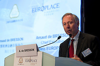 Paris Europlace Chief Executive Arnaud de Bresson makes the introduction's speech at Shanghai / Paris Europlace Financial Forum, in Shanghai, China, on December 1, 2010. Photo by Lucas Schifres/Pictobank