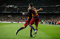Barcelona´s Iniesta celebrates a goal with Neymar Jr during 2015-16 La Liga match between Real Madrid and Barcelona at Santiago Bernabeu stadium in Madrid, Spain. November 21, 2015. (ALTERPHOTOS/Victor Blanco) /NortePhoto