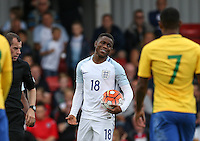 Ademola Lookman (Charlton Athletic) of England wants the free kick for himself during the International match between England U20 and Brazil U20 at the Aggborough Stadium, Kidderminster, England on 4 September 2016. Photo by Andy Rowland / PRiME Media Images.