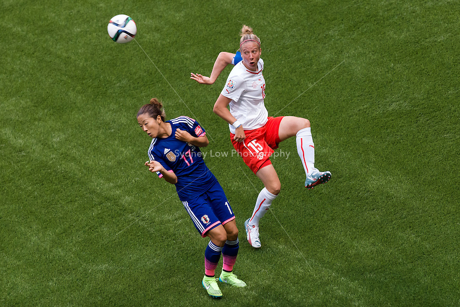 June 8, 2015: Caroline ABBE of Switzerland kicks the ball during a Group C match at the FIFA Women's World Cup Canada 2015 between Japan and Switzerland at BC Place Stadium on 8 June 2015 in Vancouver, Canada. Sydney Low/AsteriskImages