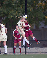 Boston College midfielder Julia Bouchelle (12) and Florida State defender/midfielder Ines Jaurena (2) battle for head ball. Florida State University defeated Boston College, 1-0, at Newton Soccer Field, Newton, MA on October 31, 2010.