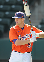 Outfielder Joe Costigan (5) of the Clemson Tigers in a game against the Michigan State Spartans on Sunday, Feb. 27, 2011, at Fluor Field in Greenville, S.C. Photo by Tom Priddy/Four Seam Images