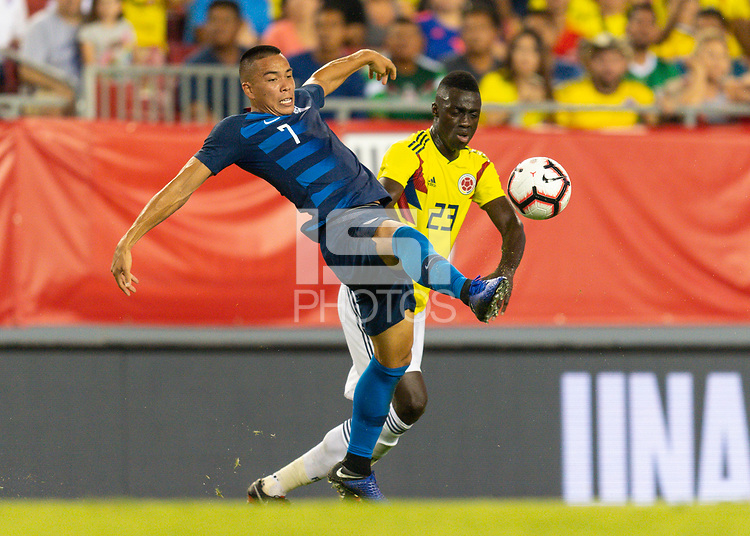 Tampa, FL - Thursday, October 11, 2018: Bobby Wood, Jeison Murillo during a USMNT match against Colombia.  Colombia defeated the USMNT 4-2.