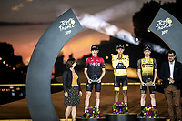 2019 Tour de France podium:<br /> 1st place Egan Bernal (COL/Ineos)<br /> 2nd place Geraint Thomas (GBR/Ineos)<br /> 3th place Steven Kruijswijk (NED/Jumbo Visma)<br /> <br /> <br /> Stage 21: Rambouillet to Paris (128km)<br /> 106th Tour de France 2019 (2.UWT)<br /> <br /> ©kramon