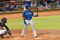 AZL Rangers designated hitter Maxwell Morales (4) at bat during an Arizona League playoff game against the AZL Indians 1 at Goodyear Ballpark on August 28, 2018 in Goodyear, Arizona. The AZL Rangers defeated the AZL Indians 1 7-4. (Zachary Lucy/Four Seam Images)