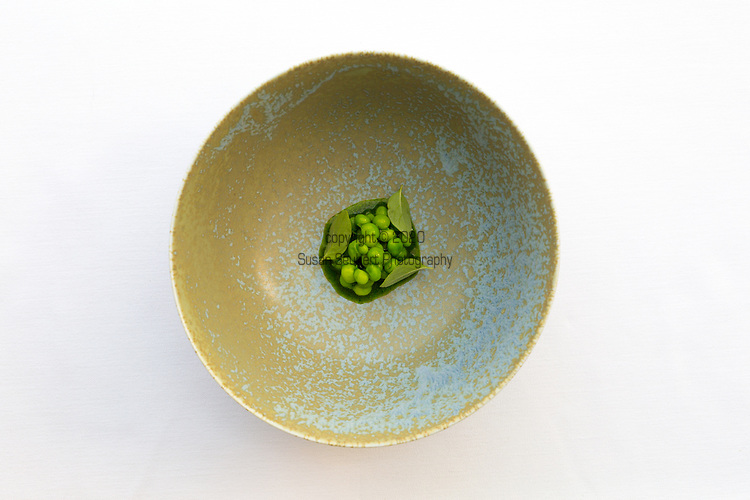 Peas, Basil, sheep cheese at Castagna Restaurant in Portland, OR, a clean-lined, minimalist restaurant serving fixed-price, high-end modernist Northwest dinners.