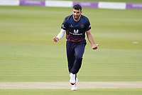 Saqib Mahmood of Lancashire CCC shows his delight on the big wicket of Ross Taylor as Middlesex are reduced to 24-5  during Middlesex vs Lancashire, Royal London One-Day Cup Cricket at Lord's Cricket Ground on 10th May 2019