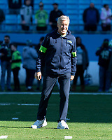 CHARLOTTE, NC - DECEMBER 15: Head coach Pete Carroll of the Seattle Seahawks during a game between Seattle Seahawks and Carolina Panthers at Bank of America Stadium on December 15, 2019 in Charlotte, North Carolina.