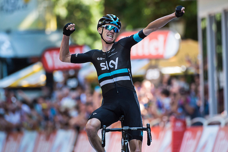 Picture by Alex Broadway/ASO/SWpix.com - 09/07/16 - Cycling - Tour de France 2016 - Stage Eight -  Pau to Bagn&egrave;res-de-Luchon - Chris Froome of Great Britain and Team Sky celebrates winning Stage Eight.<br /> NOTE : FOR EDITORIAL USE ONLY. COMMERCIAL ENQUIRIES IN THE FIRST INSTANCE TO simon@swpix.com THIS IS A COPYRIGHT PICTURE OF ASO. A MANDATORY CREDIT IS REQUIRED WHEN USED WITH NO EXCEPTIONS to ASO/ALEX BROADWAY