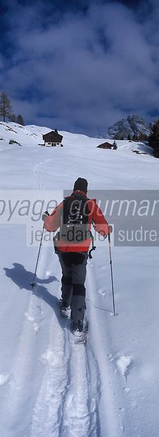 Europe/Italie/Trentin Haut-Adige/Dolomites/Val-Gardena/Selva Gardena :Randonnée en raquettes  avec Reinhardt Senoner (guide)