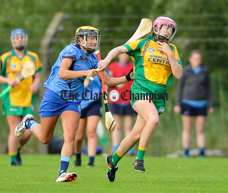 Ellen Horgan of Truagh-Clonlara in action against Clare hehir of Inagh-Kilnamona during their first round senior championship game in Shannon. Photograph by John Kelly