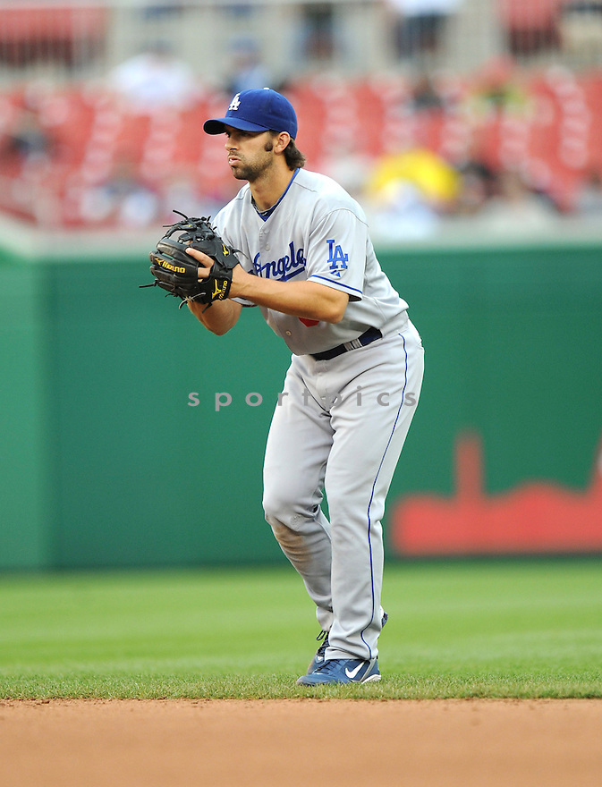 BLAKE DEWITT, of the Los Angeles Dodgers, in action during the Dodgers game against the Washington Nations  at Nationals Park in Washington D.C.on April 25, 2010.   The Dodgers win the game 1-0....