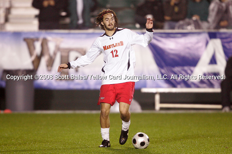 14 November 2008: Maryland's Drew Yates. The University of Maryland defeated Boston College 1-0 at WakeMed Stadium at WakeMed Soccer Park in Cary, NC in a men's ACC tournament semifinal game.