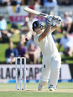 21st November 2019; Mt Maunganui, New Zealand;  England's Joe Denly hits out, international test match cricket, Day 1, New Zealand versus England at Bay Oval, Mt Maunganui, New Zealand.
