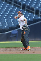 Joe Rizzo (6) of the East team makes a throw from the field during the 2015 Perfect Game All-American Classic at Petco Park on August 16, 2015 in San Diego, California. The East squad defeated the West, 3-1. (Larry Goren/Four Seam Images)