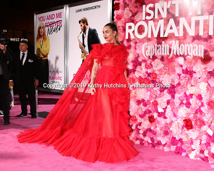 "LOS ANGELES - FEB 11:  Miley Cyrus at the ""Isn't It Romantic"" World Premiere at the Theatre at Ace Hotel on February 11, 2019 in Los Angeles, CA"