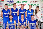The Cordal team that defeated St Mary's in the Division One Men's final at St Mary's Basketball blitz in Castleisland on Thursday front row l-r: Ger Wren, Michael Cahill, Tommy Mahony. Back row: John Brosnan, Eamon John O'Donoghue, John Brennan, PJ Reidy and Maura Conroy Miss Basketball