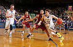 BROOKINGS, SD - FEBRUARY 6:  Keaton Moffitt #12 from South Dakota State drives against T.J. Henderson #1 from IUPUI during their game Saturday evening at Frost Arena in Brookings. Photo by Dave Eggen/Inertia)
