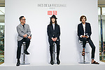 (L to R) Uniqlo Creative Director Naoki Takizawa, fashion model Louis Kurihara, and French model and fashion designer Ines de la Fressange, attend a media event for Uniqlo x Ines de La Fressange AW17 collection, on September 5, 2017, Tokyo, Japan. Japanese casual clothing chain Uniqlo and French fashion icon Ines de la Fressange are collaborating with a Fall/Winter 2017 collection which is being sold in selected Uniqlo stores from September 1st. (Photo by Rodrigo Reyes Marin/AFLO)