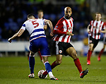 David McGoldrick of Sheffield Utd tackles Matt Miazga of Reading during the FA Cup match at the Madejski Stadium, Reading. Picture date: 3rd March 2020. Picture credit should read: Simon Bellis/Sportimage