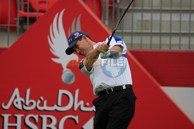 Padraig Harrington tees off the 1st tee for the Pro-Am match during practice day of the Abu Dhabi HSBC Golf Championship, 19th January 2011..(Picture Eoin Clarke/www.golffile.ie)