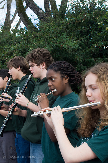 El Cerrito CA High school band students playing at Little League opening day parade