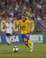 Sweden midfielder Kosovare Asllani (10) brings the ball forward. The US Women's national team beat Sweden, 3-0, at Rentschler Field on July 17, 2010.