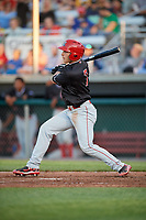Batavia Muckdogs designated hitter Michael Donadio (7) follows through on a swing during a game against the Auburn Doubledays on June 15, 2018 at Falcon Park in Auburn, New York.  Auburn defeated Batavia 5-1.  (Mike Janes/Four Seam Images)