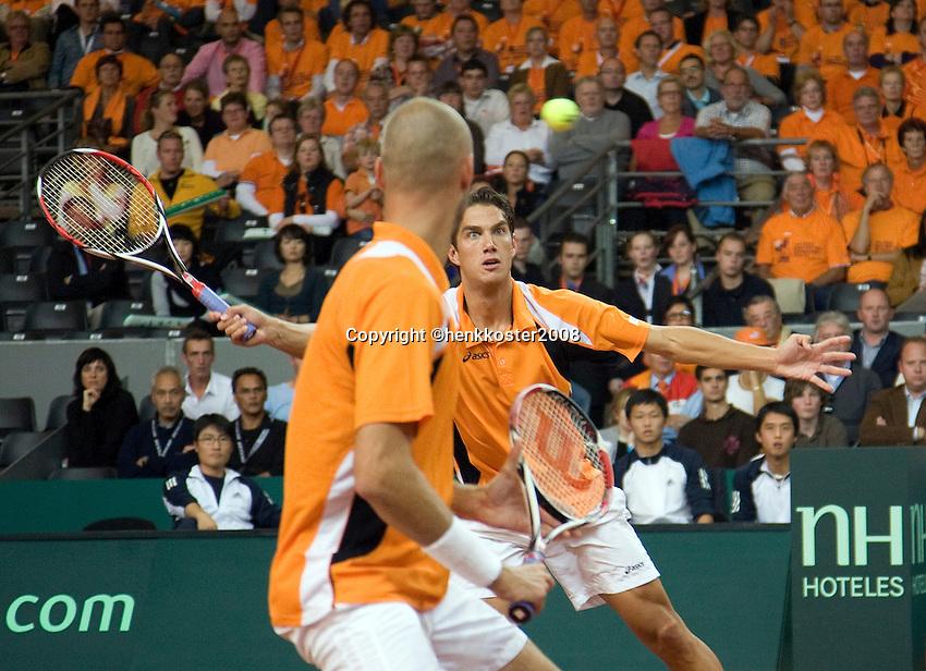 20-9-08, Netherlands, Apeldoorn, Tennis, Daviscup NL-Zuid Korea, Dubbles match: Jesse Huta Galung and Peter Wessels  vs  HyungTaik Lee and WongSun Jun