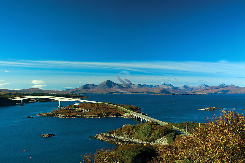 The Cuillin, Loch Alsh and the Skye Bridge from The Plock, Kyle of Lochalsh, Skye & Lochalsh, Highland