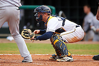 Montgomery Biscuits catcher Justin O'Conner (5) waits for the pitch during a game against the Jackson Generals on April 29, 2015 at Riverwalk Stadium in Montgomery, Alabama.  Jackson defeated Montgomery 4-3.  (Mike Janes/Four Seam Images)