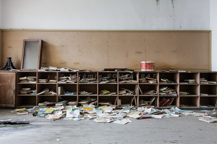 Aoshima, Ehime prefecture, September 4 2015 - Inside the abandonned school of Aoshima island.<br /> Aoshima (Ao island) is one of the several &laquo; cat islands &raquo; in Japan. Due to the decreasing of its poluation, the island now host about 6 times more cats than residents.