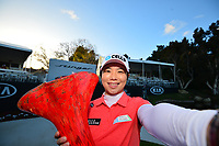 The 2018 Kia Classic tournament Champion Eun-Hee Ji (KOR) with the Winners Selfie during the Final Round at the Kia Classic,Park Hyatt Aviara Resort, Golf Club &amp; Spa, Carlsbad, California, USA. 3/25/18.<br /> Picture: Golffile | Bruce Sherwood<br /> <br /> <br /> All photo usage must carry mandatory copyright credit (&copy; Golffile | Bruce Sherwood)