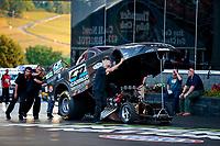 Jun 15, 2018; Bristol, TN, USA; NHRA funny car driver Del Worsham during qualifying for the Thunder Valley Nationals at Bristol Dragway. Mandatory Credit: Mark J. Rebilas-USA TODAY Sports