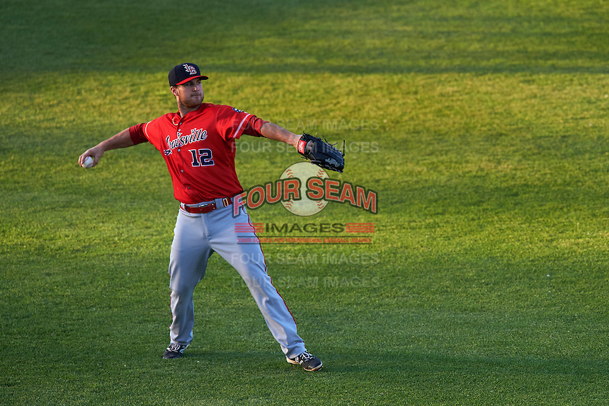 Louisville Bats left fielder Scott Schebler (12) throws the ball in during a game against the Syracuse Chiefs on June 6, 2016 at NBT Bank Stadium in Syracuse, New York.  Syracuse defeated Louisville 3-1.  (Mike Janes/Four Seam Images)