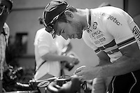 mechanic Mark Cavendish (GBR) working his bike<br /> <br /> Tour de France 2013<br /> restday 2