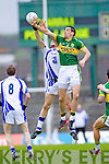 Anthony Maher contests with Waterford's Tommy Prendergast last Saturday in Fitzgerald Stadium for the Munster GAA football championship
