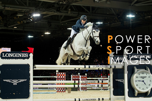 Laura Renwick on Rembrandt Blue competes during competition Table A Against the Clock at the Longines Masters of Hong Kong on 19 February 2016 at the Asia World Expo in Hong Kong, China. Photo by Li Man Yuen / Power Sport Images