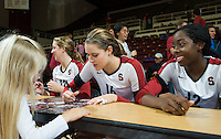 STANFORD, CA - The Stanford Cardinal wins in straight sets over the University of Colorado at Maples Pavilion.