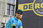 Magnus Cort Nielsen (DEN) Astana Pro Team on stage at the team presentation in Antwerp before the start of the 2019 Ronde Van Vlaanderen 270km from Antwerp to Oudenaarde, Belgium. 7th April 2019.<br /> Picture: Eoin Clarke | Cyclefile<br /> <br /> All photos usage must carry mandatory copyright credit (&copy; Cyclefile | Eoin Clarke)