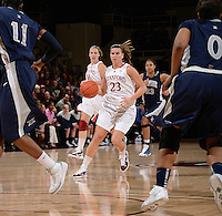 STANFORD, CA - DECEMBER 28: Jeanette Pohlen (23) of Stanford women's basketball brings the ball down-court in a game against Xavier on December 28, 2010 at Maples Pavilion in Stanford, California.  Stanford topped Xavier, 89-52.