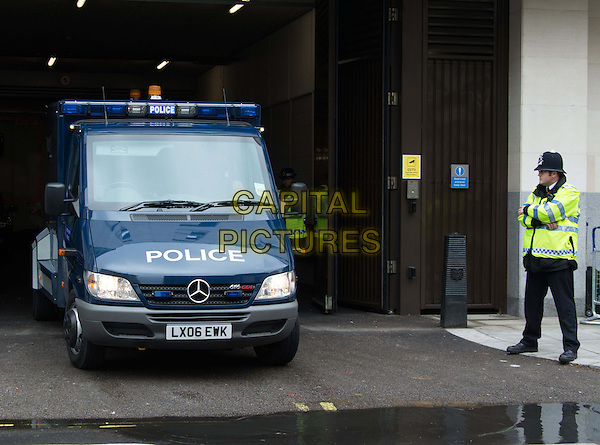 Michael Adebowale driven to Westminster Magistrates' Court, London, charged with the murder of soldier Lee Rigby, London, England.<br /> May 30th, 2013<br /> gv general view police car van traffic street road sirens officer <br /> CAP/BF<br /> &copy;Bob Fidgeon/Capital Pictures
