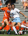 Florida's Daniela Sanchez (l) and North Carolina's Yael Averbuch (17) on Sunday September 17th, 2006 at Koskinen Stadium on the campus of the Duke University in Durham, North Carolina. The University of North Carolina Tarheels defeated the University of Florida Gators 1-0 in an NCAA Division I Women's Soccer game.