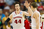 Wisconsin Badgers center Frank Kaminsky (44) and forward Sam Dekker (15) during the fourth-round game in the NCAA college basketball tournament against the Baylor Bears Thursday, March 27, 2014 in Anaheim, California. The Badgers won 69-52. (Photo by David Stluka)