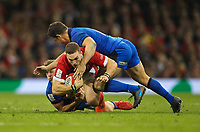 1st February 2020; Millennium Stadium, Cardiff, Glamorgan, Wales; International Rugby, Six Nations Rugby, Wales versus Italy; George North of Wales is tackled by Callum Braley and Luca Morisi of Italy