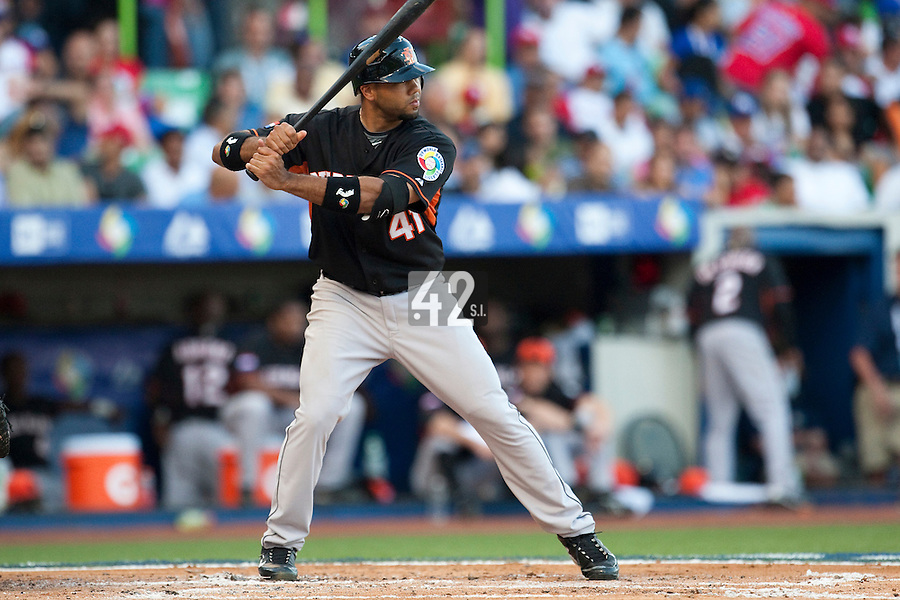 11 March 2009: #41 Vince Rooi of the Netherlands is seen at bat during the 2009 World Baseball Classic Pool D game 6 at Hiram Bithorn Stadium in San Juan, Puerto Rico. Puerto Rico wins 5-0 over the Netherlands